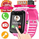 Kids Smart Watch Phone with FREE SIM Card & 2Pcs Batteries for 3-12 Girls Boys with 1.44'' HD Touch Screen 2 Way Call Camera SOS Clock Game Flashlight Wristband Cellphone Watch Electronic Learning Toy