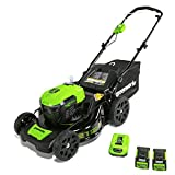 "GreenWorks MO40L2512 Electric Lawn Mower, 40V 21"" Batteries Included"