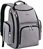 Diaper Bag Backpack, Large Multifunction Waterproof Travel Backpacks for Mom Dad with Insulated Pockets, Changing Pad, Stroller Straps, Mancro Durable Maternity Baby Nappy Bags for Boys Girls, Grey