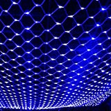 DOCHEER LED Net Mesh String Fairy Lights 204 LEDs, 6.56 Ft x 9.84 Ft,8 Modes, Blue Outdoor Transparency String Lights Waterproof Christmas Decorative Lights for Christmas Tree, Holiday, Party, Wedding