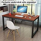 Home Office Computer Desk 39 Inch PC Laptop Workstation with Wire Organizer, Teak + Black (L39 x W24 x H29 inch)