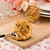 60 Ornate Matte Gold Rose Design Compact Mirror from Fashioncraft