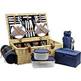 Large Willow Picnic Basket with Deluxe Service Set for 4 Persons, Natural Wicker Picnic Hamper with Food Cooler, Wine Cooler, Free Fleece Blanket and Tableware - Best Gift for Fathers Day