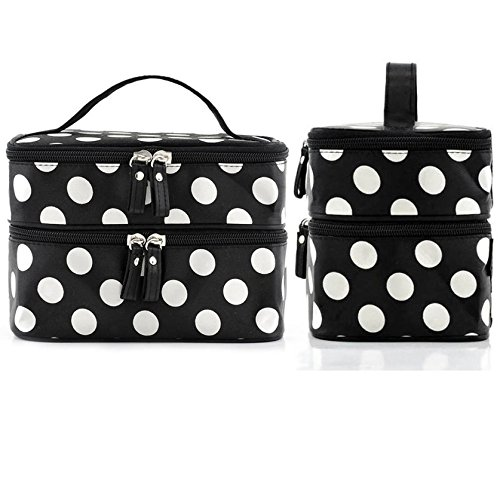 aaf9f6e1da5a OFKP® Cosmetic Bag Double Layer Dot Pattern Travel Toiletry Bag ...