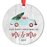 Newlywed Christmas Ornament 2019 First Christmas Mr & Mrs Bridal Shower Wedding Gift Idea Rustic Holiday Tree Ceramic Country Farmhouse Keepsake 3' Flat Circle Porcelain with Red Ribbon & Free Box