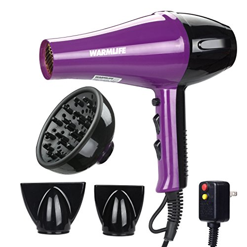 Warmlife 1875W Professional AC Motor Hair Dryer, Negative Ions Ceramic Ionic Blow Dryer with 2 Speed and 3 Heat Settings Cold Shot Button, with Concentrator & Diffuser Low Noise (PURPLE)