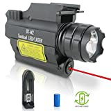 DefendTek Rechargeable Rail Mounted Red Laser Sight Combo Tactical LED Rail Mount Gun Flashlight with Quick Release DT-M2 Model