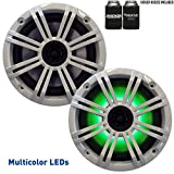 KICKER 6.5' White LED Marine Speakers (Qty 2) 1 Pair of OEM Replacement Speakers