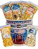 Popcorn by Colorado Kernels Popcorn Delights   3.5 Gal CELEBRATE COLORADO MOUNTAINS Bucket   6 lg resealable bags   Kettle Corn, Cheddar Cheese, Caramel Corn,Chocolate, Almonds/Pecans, Buffalo Ranch