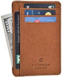 RFID Front Pocket Slim Wallets- Genuine Leather Handmade Minimalist Credit Card Holder By Clifton Heritage (Small, Cognac Vintage Wax)