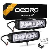 oEdRo LED Light Bar 2pcs 6 Inch 18W LED Work Light Off Road Lights Car Boat Lights Fog Driving Light Lamp Compatible for UTE SUV 4X4 4WD ATV Jeep 3 Years Warranty (Spot Fog Lamp)