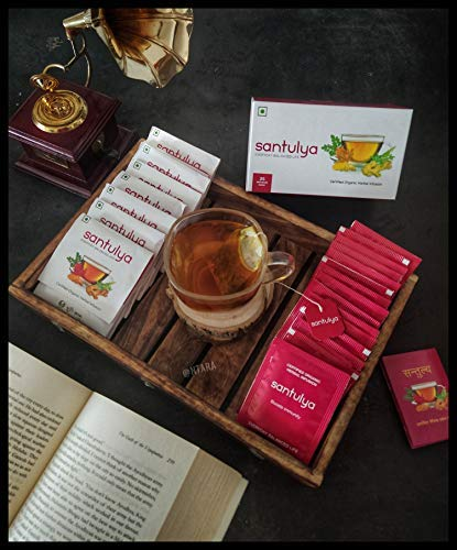 SANTULYA Organic Turmeric + Tulsi + Moringa Herbal Tea for Detox & Immunity (100 Tea Bags) 6