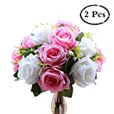 Pack of 2 Fake Flower Bouquet, Plastic Roses Base, Suit Wedding/Party Centerpiece Road Lead Flower Rack Decorations (Pink & White)