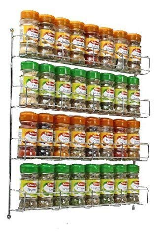 Neo 32pc Chrome 4 Tier Spice Rack Jar Holder For Wall Or Kitchen Cupboard