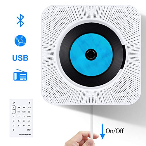 Portable CD Player with Bluetooth, Popsky Wall Mountable CD Music Player with Remote Control Built-in HiFi Speakers, Headphone Jack AUX Input Output