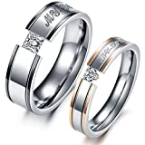 """VALYRIA Jewelry """"My Love"""" Cubic Zirconia Stainless Steel Wedding Band/Anniversary/Engagement/Promise/Couple Ring ,Women's (6)"""
