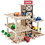 Imagination Generation Downtown Deluxe Wooden Parking Garage Ramp & Service Station Playset with Elevator, Signs & Accessories for Mini Toy Cars (19 pcs)