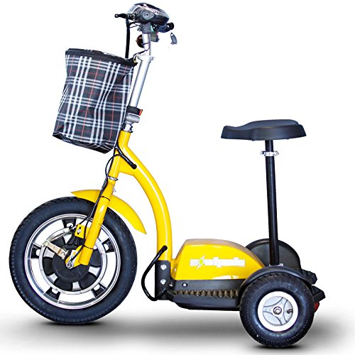 eWheels Stand or Ride Scooter with Folding Tiller in Yellow