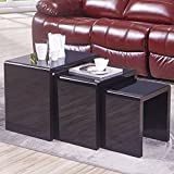 Mecor Nesting Coffee Table Set, 3 Piece Glass Top Modern Side End Table W/High Gloss Black for Living Room (MDF)