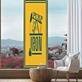 YOLIYANA Stained Glass Window Film,Fitness,for Bathroom Shower Door Heat Cotrol Anti UV,Pump Some Iron Quote in Vintage Frame Oil,24''x78''