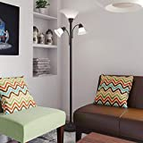 Modern Tree Floor Lamp 3Light, Black Reading Light with White Shade Contemporary Standing Lamp 3Way, Metal