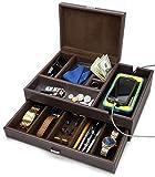 HOUNDSBAY Admiral Big Dresser Valet Box & Mens Jewelry Box Organizer with Large Smartphone Charging Station (Dark Brown)