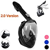 Qwer Full Face Snorkel Mask,New Foldable Snorkeling Mask with Detachable Camera Mount Pivot Arm and Earplug, 180° Large View Easy Breath Dry Top Set Anti-Fog for Adults Youth (Pure Black, S/M)