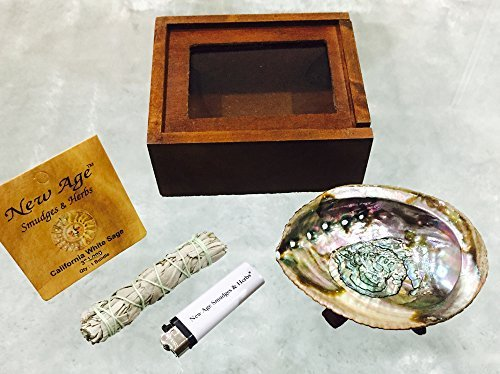 New Age Smudges & Herbs - California White Sage Cleansing | Purification | Blessing Kit Includes: Abalone Shell 4-5', Wooden Tripod 4', White Sage 3-4', Wooden Box, Free Gift