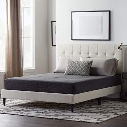 LUCID Upholstered Bed with Square Tufted Headboard -Linen Inspired Fabric –Sturdy Wood Build –No Box Spring Required Platform, Queen, Pearl