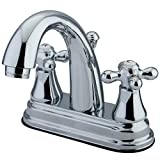 Kingston Brass ES7611AX English Vintage Center Set Lavatory Faucet with Brass Pop-Up, 4', Polished Chrome