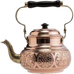 Solid Copper Teapot Kettle 1.6-qt