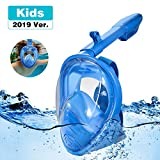 RayCue Full Face Snorkel Mask for Kids, 180° Panoramic View Shallow Dive Mask with Detachable Camera Mount, Free Breath Anti-Fog Anti-Leak Dry Top System