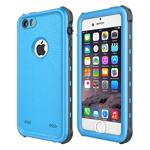 iPhone 5 5S SE Waterproof Case, Upgraded Shockproof Dropproof Dirtproof Rain Snow Proof Full Body Protective Cover IP68 Certified Underwater Case Built-in Screen Protector for iPhone 5S 5 SE (Blue)