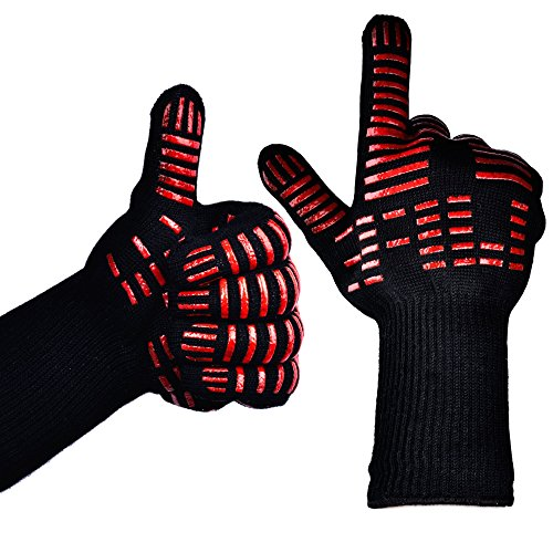TTLIFE BBQ Gloves - Grilling Cooking Gloves - 932°F Extreme Heat Resistant Gloves - 1 Pair (Long with Narrow Thumb) - 14' Long - For Extra Forearm Protection
