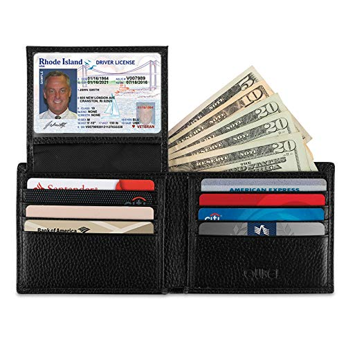 Wallet for Men-Genuine Leather RFID Blocking Slim Bifold Stylish With ID Window