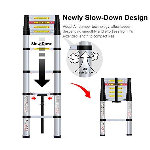 WolfWise EN131 Telescoping Ladder Aluminum Telescopic Extension Tall Multi Purpose (12.5 Ft Black)