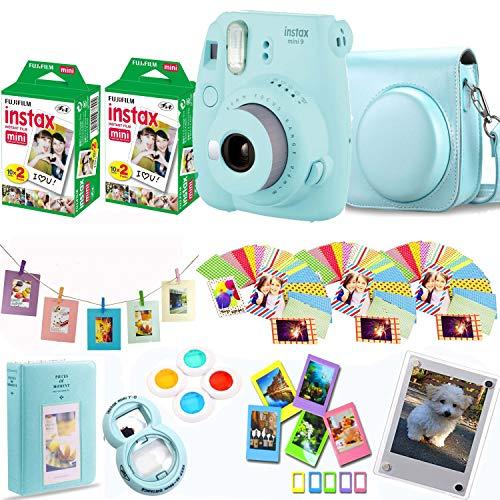 Fujifilm Instax Mini 9 – Ice Blue Instant Camera + Fuji Instax Film 40 Shots + Protective Case + Magnetic Acrylic Frame + Album, Hanging Frames, Desk Frames, Filter Set & Selfie Lens 90 PC Design Kit