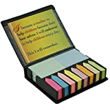 Teacher Peach'Remember' Sticky Note and Page Marker Box Set - Motivational Holder and Organizer of Self Stick Note Cards & Book Flags - Best as Teacher Appreciation Present for Men or Women