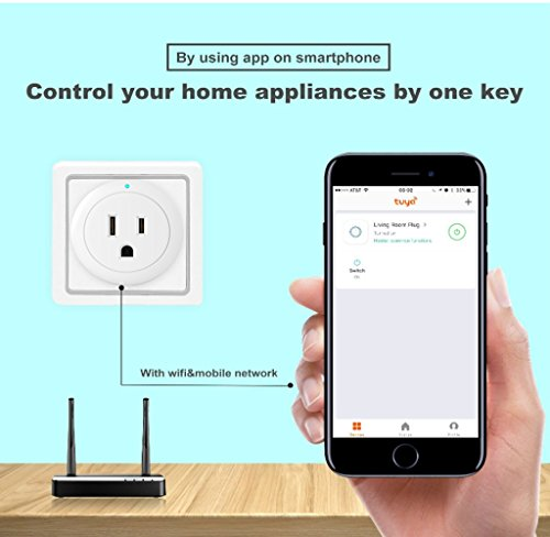 Mini Smart Wifi Plug Works with Amazon Alexa Google Home- Wireless Remoted  Control Socket APP IOS