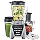 Oster Blender | Pro 1200 with Glass Jar, 24-Ounce Smoothie Cup and Food Processor Attachment, Brushed Nickel