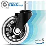 Office Chair Wheels (Set of 5) - for IKEA Chair - 3' Rollerblade Style Caster - Heavy Duty - Smooth & Silent - Safe for All Floors, Including Hardwood & Carpet - Replacement for Desk Floor Mat