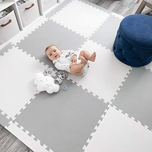 Baby Play Mat Tiles Extra Large Thick Foam Floor Puzzle Mat Interlocking Playmat for Infants Toddlers Kids Babies Crawling Tummy Time 74' x 74' (Grey/White)