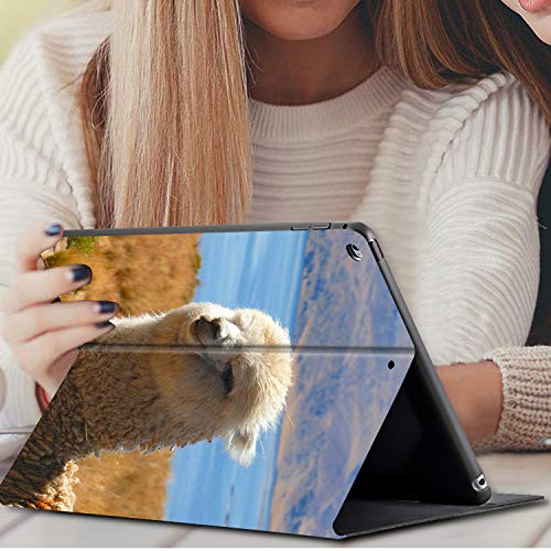 IPad 10.2 Inch 2019 Case, AMOOK PU Leather Adjustable Stand Cover Protection with Auto Wake/Sleep Smart Cover for Apple iPad 7th Gen-Lovely Alpaca Llama