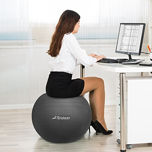 Trideer Exercise Ball 45 85cm Extra Thick Yoga Ball Chair Anti Burst Heavy Duty Stability Ball Supports 2200lbs Birthing Ball With Quick Pump Office Home Gym Health Fitness