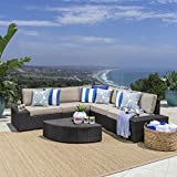 Great Deal Furniture | Reddington | Outdoor Patio Furniture 6-Piece Sectional Sofa Set with Cushions | in Brown/Beige