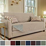 Gorilla Grip Original Slip Resistant Sofa Slipcover Protector, Seat Width Up to 70 Inch Suede-Like, Patent Pending, 2 Inch Straps, Hook, Couch Cover for Kids, Dogs, Pets, Sofa, Taupe