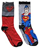 DC Comics Superman Men's Crew Socks 2 Pair Pack Shoe Size 6-12 (Grey/Red)