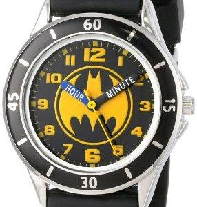 Batman Kids' Analog Watch with Silver-Tone Casing, Black Bezel, Black Strap – Official Yellow/Black Batman Logo on The Dial, Time-Teacher Watch, Safe for Children – Model: BAT9152