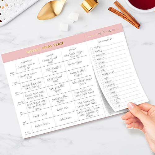 """Sweetzer & Orange Weekly Meal Planner and Grocery List Magnetic Notepad. Pink 10x7"""" Meal Planning Pad with Tear Off Shopping List. Plan Weekly Menu Food for Weight Loss or Dinner List for Family! 4"""