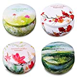 Ahyiyou Scented Candles, 100% Soy Wax Tin Candles, Natural Fragrance Candles for Stress Relief and Aromatherapy - 4 Pack Gift Set (Lavender, Rose, Tea Tree, Peppermint)